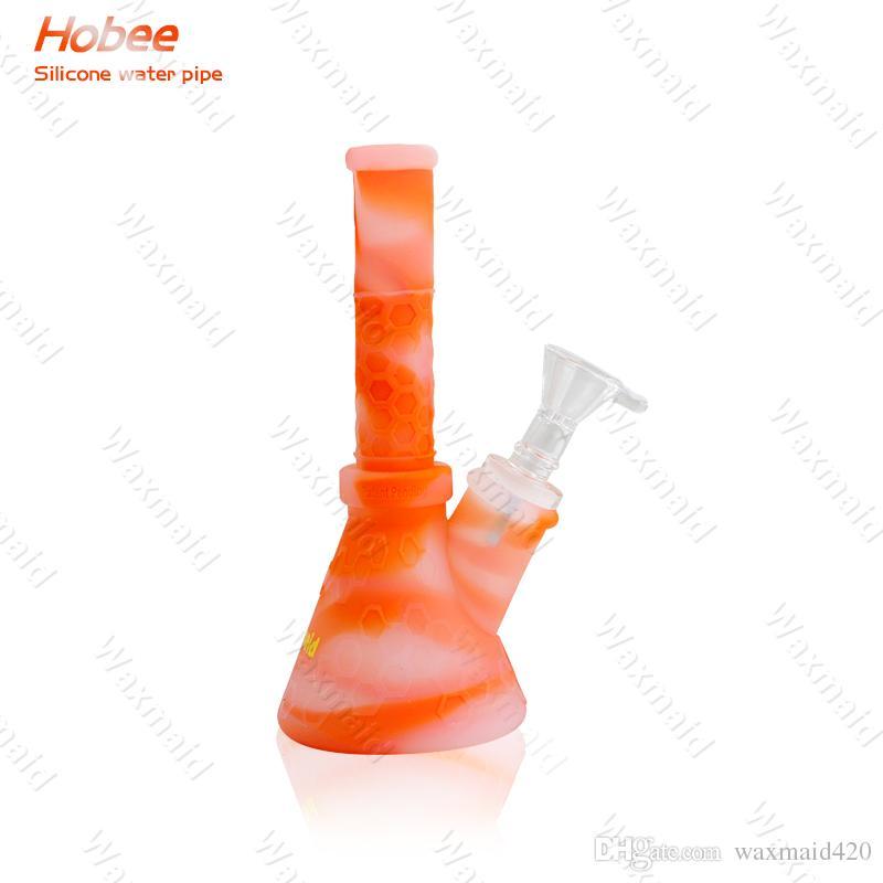 Tubo de agua de vidrio Bong de 9 pulgadas Bongs de silicona Bongs con adaptador de junta de 14 mm Outlet de fábrica Envío libre de DHL