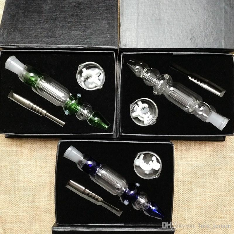 14mm Joint Nector Collector Kits Mini Smoking Pipes With Titanium Tip Dab Oil Rigs Straw Glass Dish Nector Collectors Small Bong NC10-14