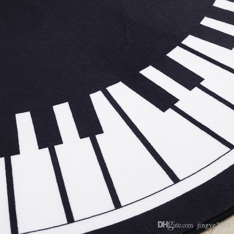 150*150cm Round Piano Keyboard Rug,British Style,Polyester Anti-slip Carpets,Perfect for Bedroom Study Parlor Floor and Kids Playground Mat