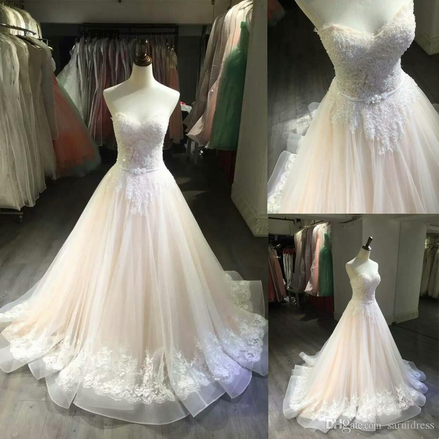 Princess Sweetheart Neckline Nude Color Wedding Dress With Crystals ...
