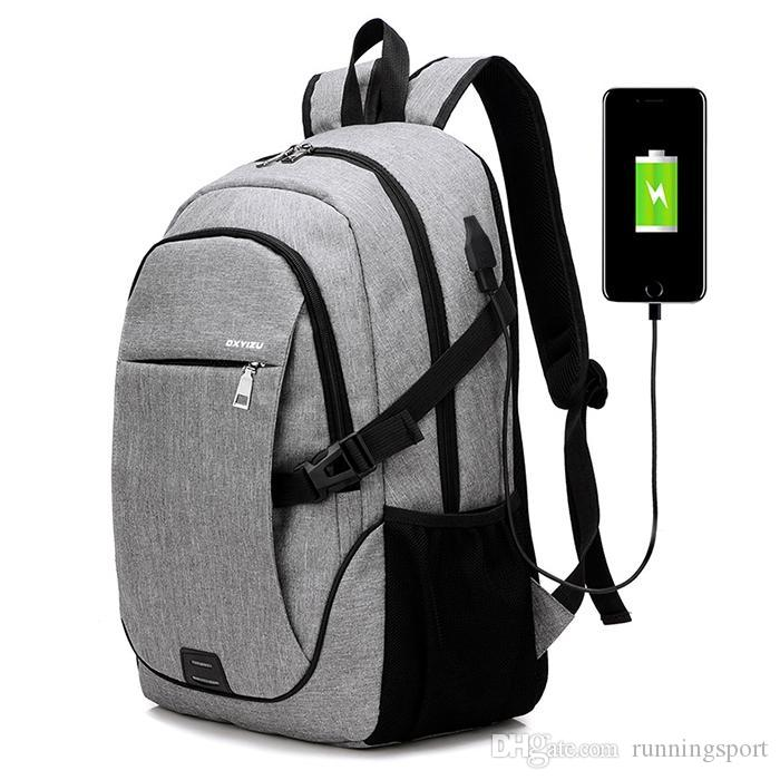 84f5209882 Durable Solid Color Canvas Backpack with USB Port for Men Travel ...