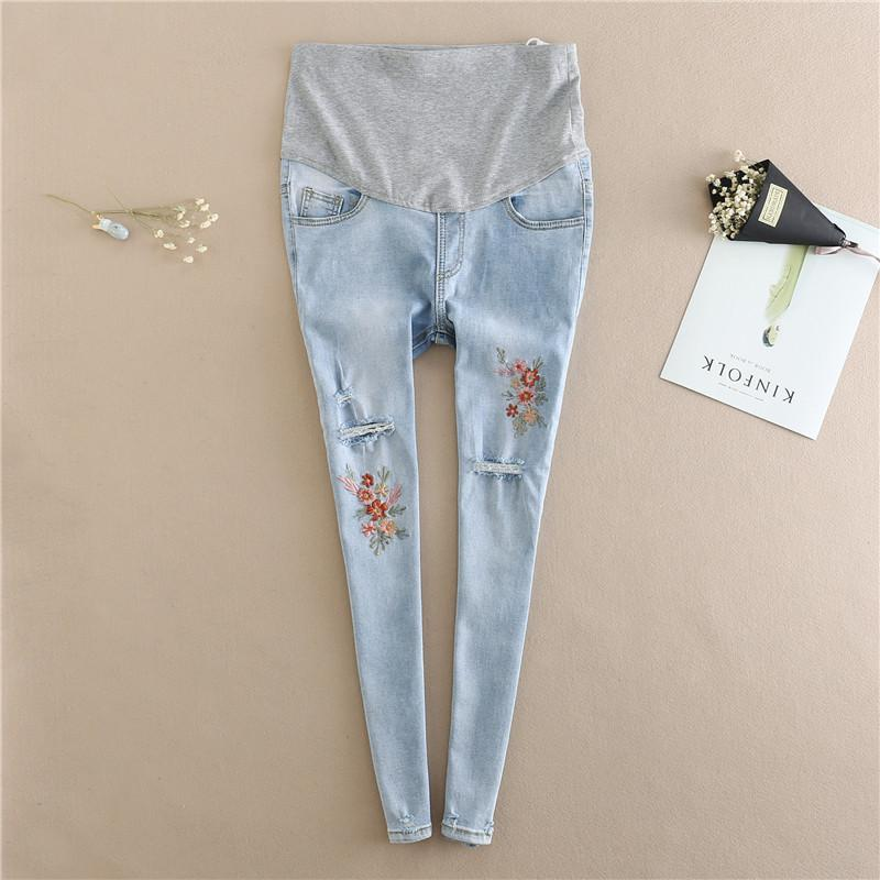 502fb6fa0d7fe 2019 Maternity Jeans Pants 2018 Summer Clothes For Pregnant Women  Embroidery Pregnancy Pants Belly Blue Hole Denim Pencil Trousers From  Orchidor, ...