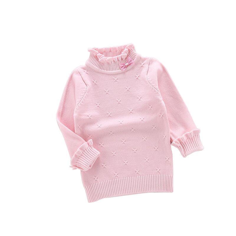 614c74bfc5bf Girls O-Neck Sweaters Low-necked Children Warm Knit Sweater Kids ...