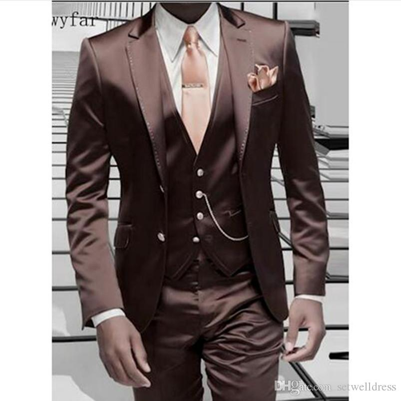 Brown Men Suit For Wedding 2018 Cheap Formal Wedding Tuxedo Custom made Prom Party Suits Jacket+Pants+Vest