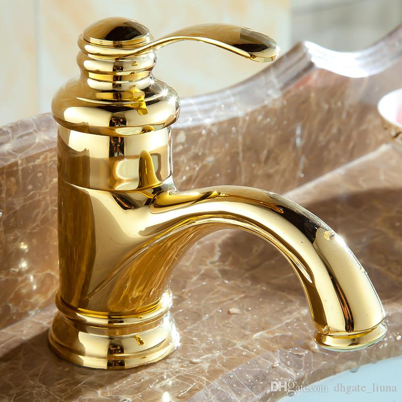 Badezimmer-Hahn-einzelnes Loch-goldene polnische Badezimmer-Bassin-Wannen-Mischungs-Hahn-Bassin-Hähne kleine Plattform brachte Wasser-Mischer-Hahn an