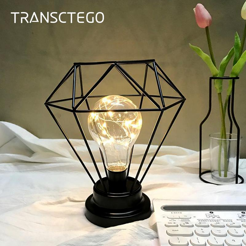2019 Led Night Light Bedside Lamp Diamond Iron Cage Copper Wire Usb