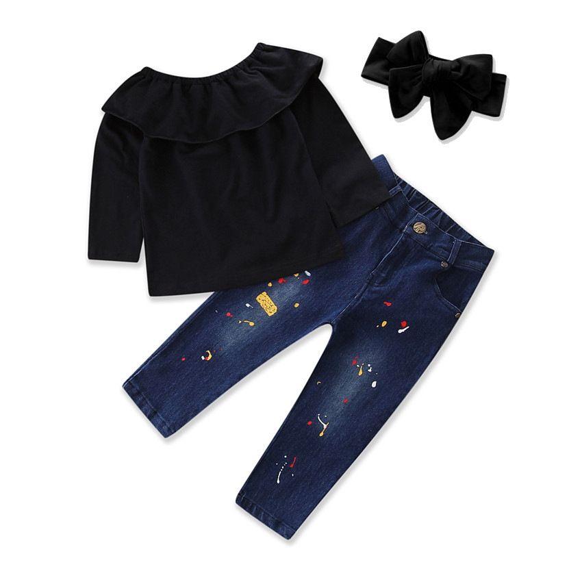 Bambini INS abiti ragazze arco archetto + Off spalla top + pantaloni in denim 3 pz / set 2018 Baby suit Boutique bambini Set di abbigliamento C3918