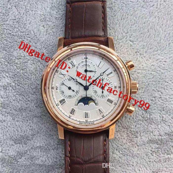 New Fashion CLASSIQUE Series 7750 Hand-Winding Men's Watch Gold 316L Stainless Steel Case Sapphire Moon Phase Features Leather Strap