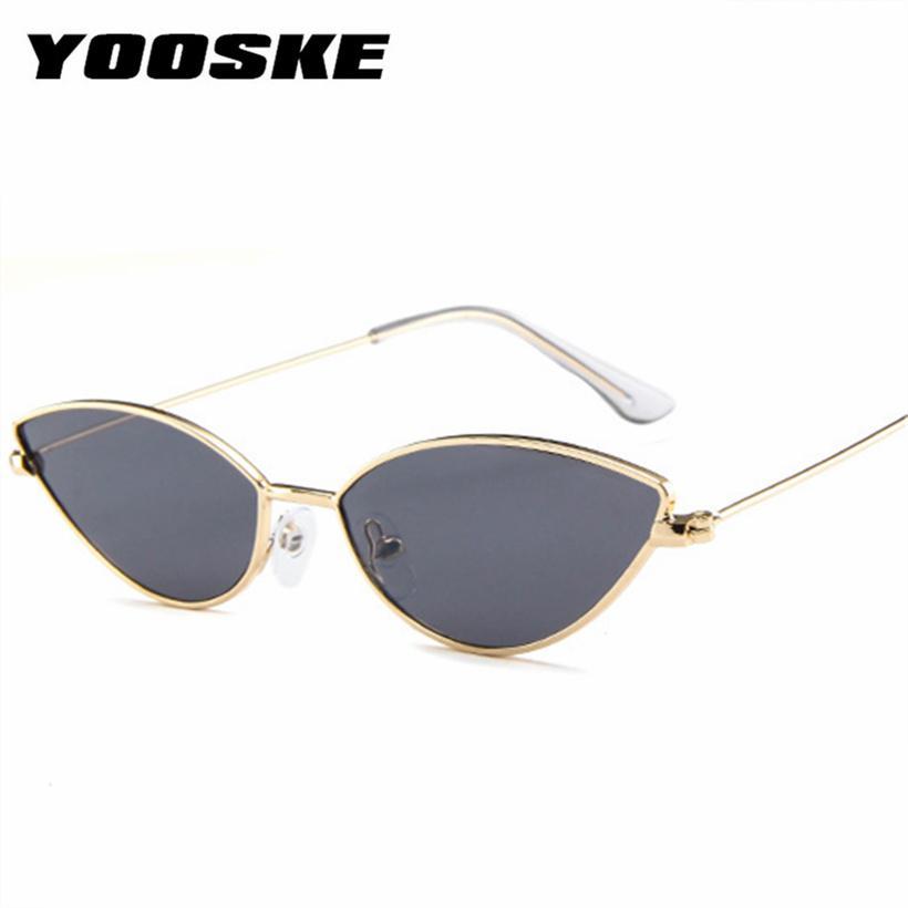 e7aa3f0367c92 Compre Yooske Lindo Atractivo Ojo De Gato Gafas De Sol Para Mujeres Retro  Pequeño Marco Negro Rojo Cateye Gafas De Sol Mujer Vintage Shades Para  Mujeres A ...