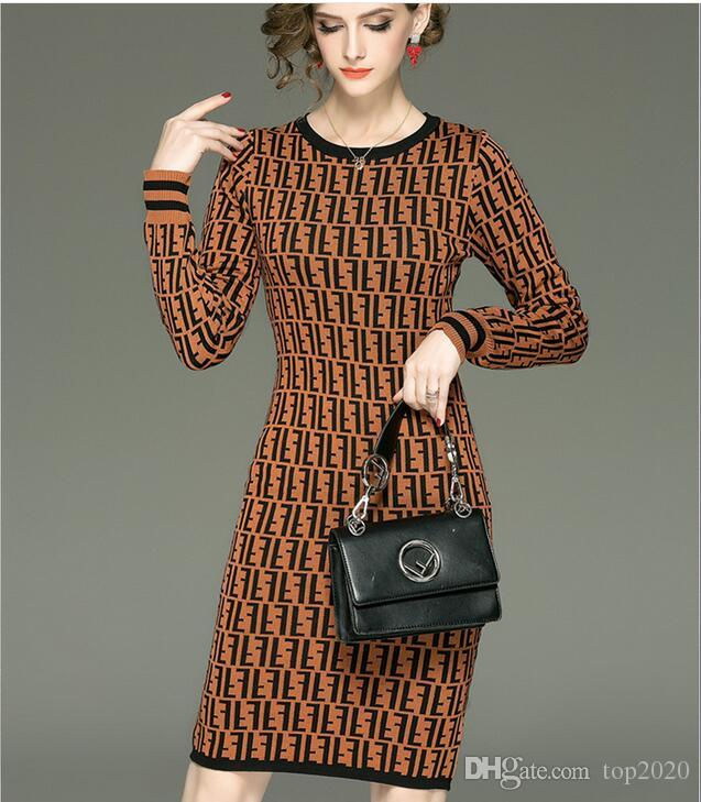 b56916292b Women Winter Knit F Letter Dress Classic Simple Retro Noble Luxury ...