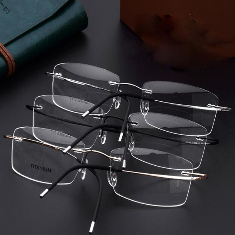 806551a7c46 Hot Sell 100% Pure Titanium Men S Women Eyeglasses Frame Optical Glasses  Prescription Rimless Glasses Light Weight Glasses Prescription Prescription  Rimless ...