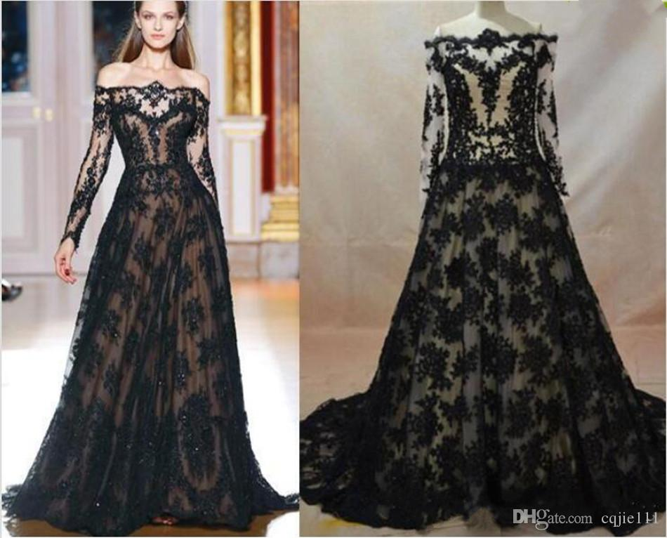 Imagen real 2019 Nuevos vestidos de noche de encaje inspirados en Zuhair Murad Una línea Escote transparente Mangas largas Negro sobre vestidos de noche desnudos 139