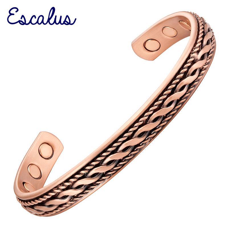 2a7557bdda8f Escalus estilo vintage potentes brazaletes de cobre puro para las mujeres  salud magnética curación bio hombres pulsera moda pulsera encanto