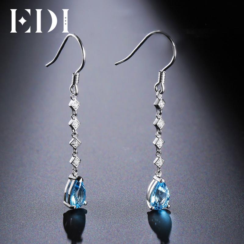 c44ca5837a6 2019 EDI 5 8mm Natural Topaz Long Water Drop Earrings Gemstone 925 Sterling  Silver Female Jewelry Fashion Jewelry From Bojiban
