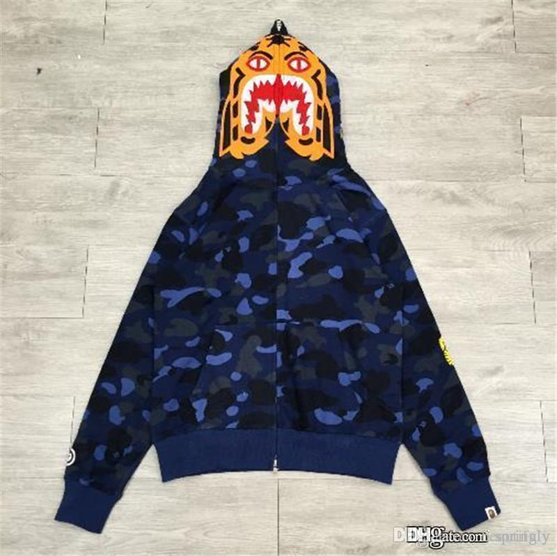 223a107f11eb 2019 2017 New Blue A BATHING A APE Men S Bap COLOR CAMO TIGER FULL ZIP HOODIE  Shark Jaw Full Zipper Hoodie Sweater Camouflage Coat Jacket From  Beautifuly