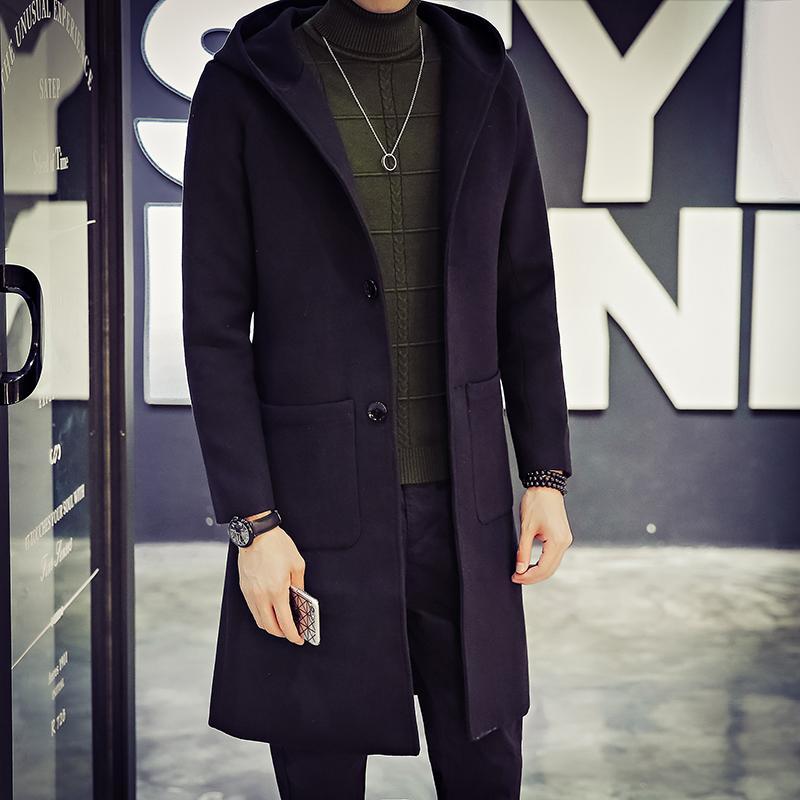 US $50.33  Autunno Modello Uomo Giacca A Vento Lungo Panno Pesante Giacca di Lana Coreana Cappotto sobretudo masculino uomini cappotto di trincea
