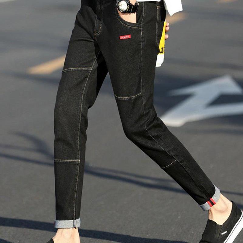 82122c7fbb06a Acheter Hommes Casual Style Jeans Stretch Skinny Denim Pantalon Slim Mid  Droit Bleu Noir Gentleman Homme Crayon Pantalon Jeans 8J1778 De $41.78 Du  Manxinxin ...