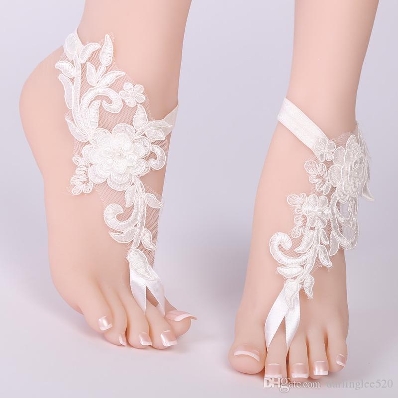 1edb4ed6a5f4 Foot Chain Lace Ankle Bracelet Bridal Beach Wedding Barefoot Sandals Wedding  Accessories Wedding Dress Online Bridal Accessories From Darlinglee520