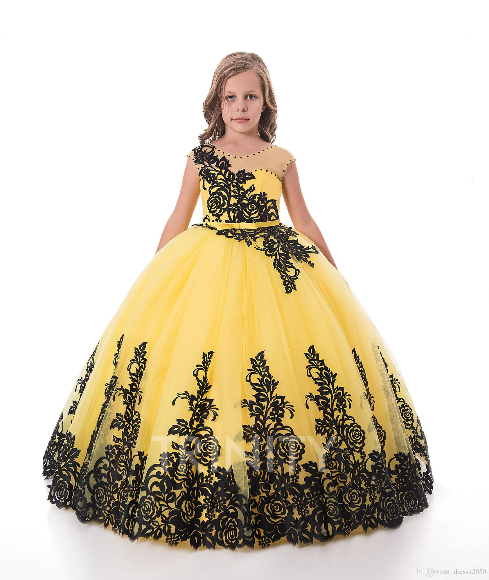 Bright Yellow Black Lace Applique Flower Girl Dresses Girls Pageant