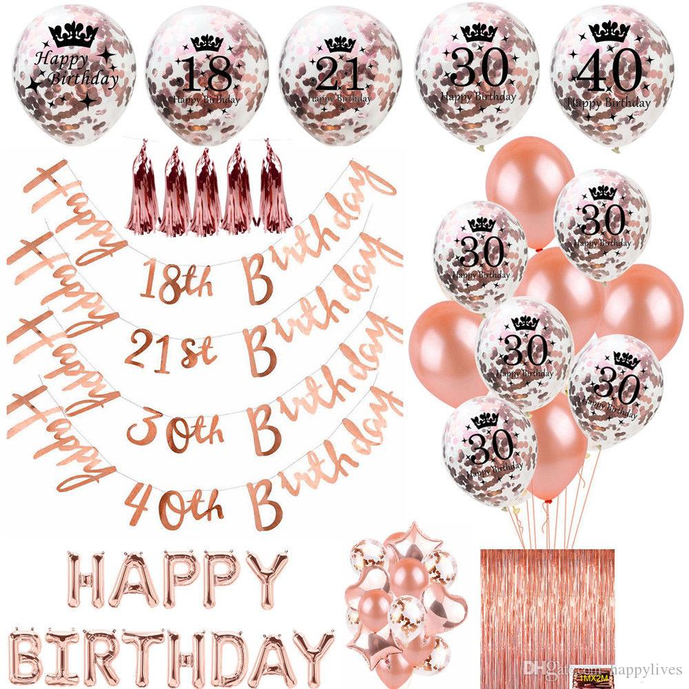 2019 Rose Gold Happy Birthday Bunting Banner Balloons 18 21st 30 40 50 60th Party Dec From Happylives 663