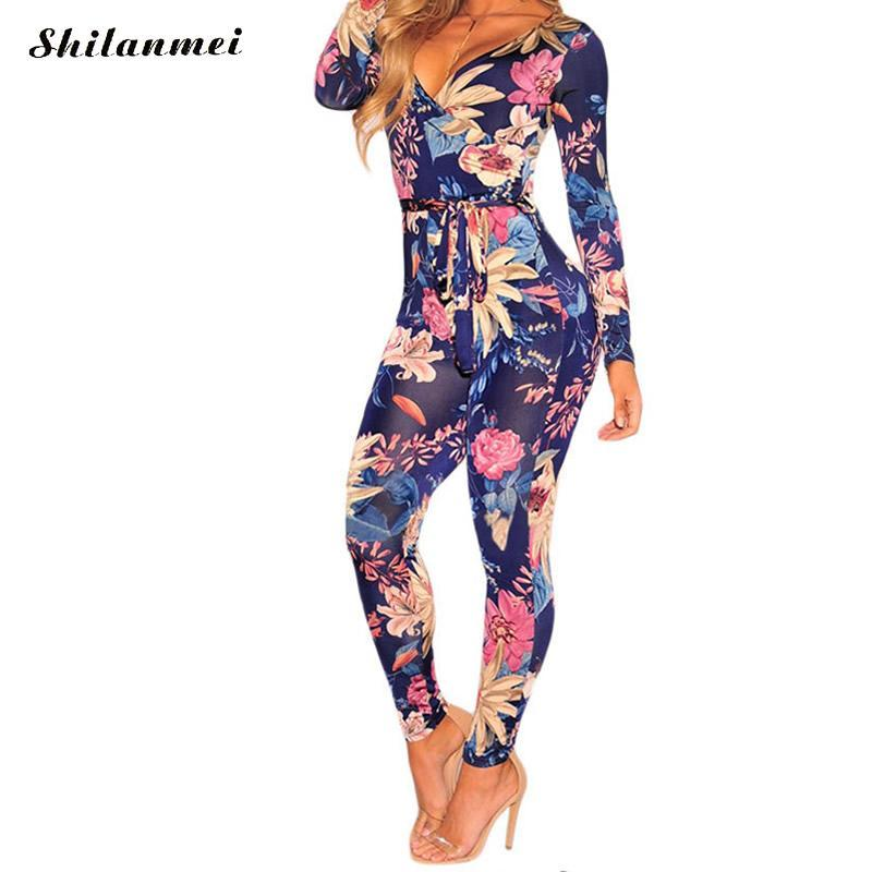 83eba2d30e95 Women Bohemian Long Sleeve Jumpsuit Deep V Neck Floral Printed Playsuit  Skinny Floral Summer Elebeach Party Long Overalls UK 2019 From Pamele