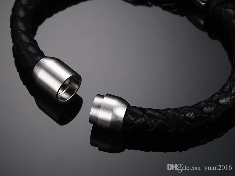 Edelstahl Löwenkopf Echtes Geflochtenes Leder Manschette Magnetverschluss Armband, 8,5