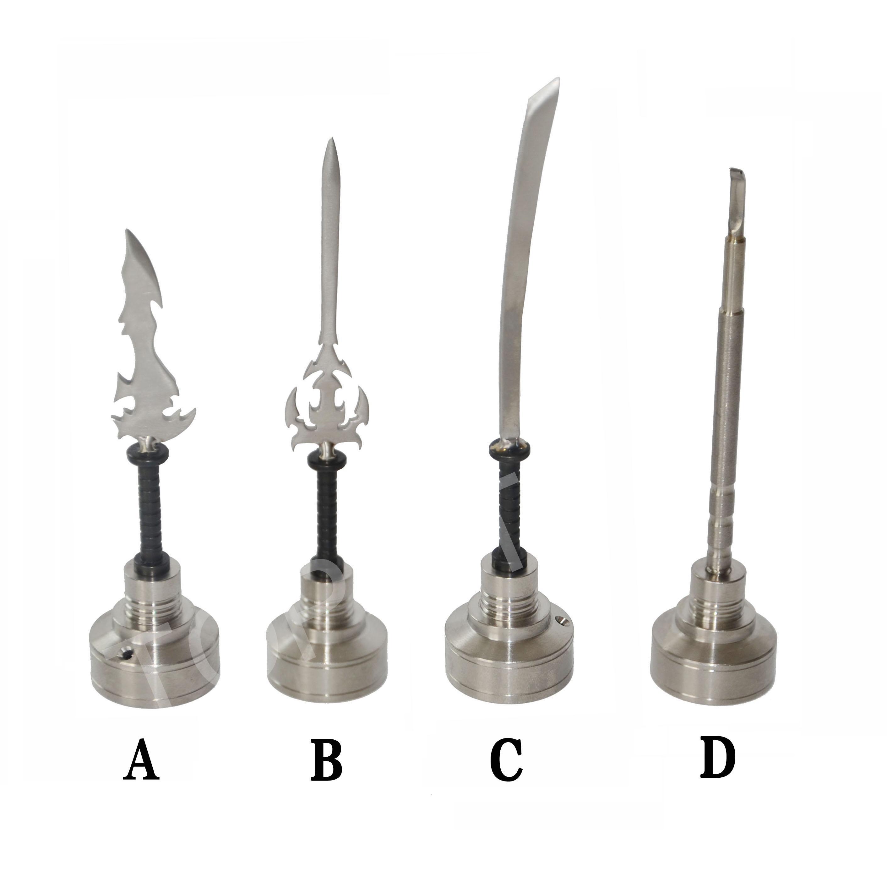 GR2 Titanium Clou 14mm 18mm titane Carb Cap outil sans couture cire outils de sculpture avec différents dabbers courbe, couteau, épée dabber