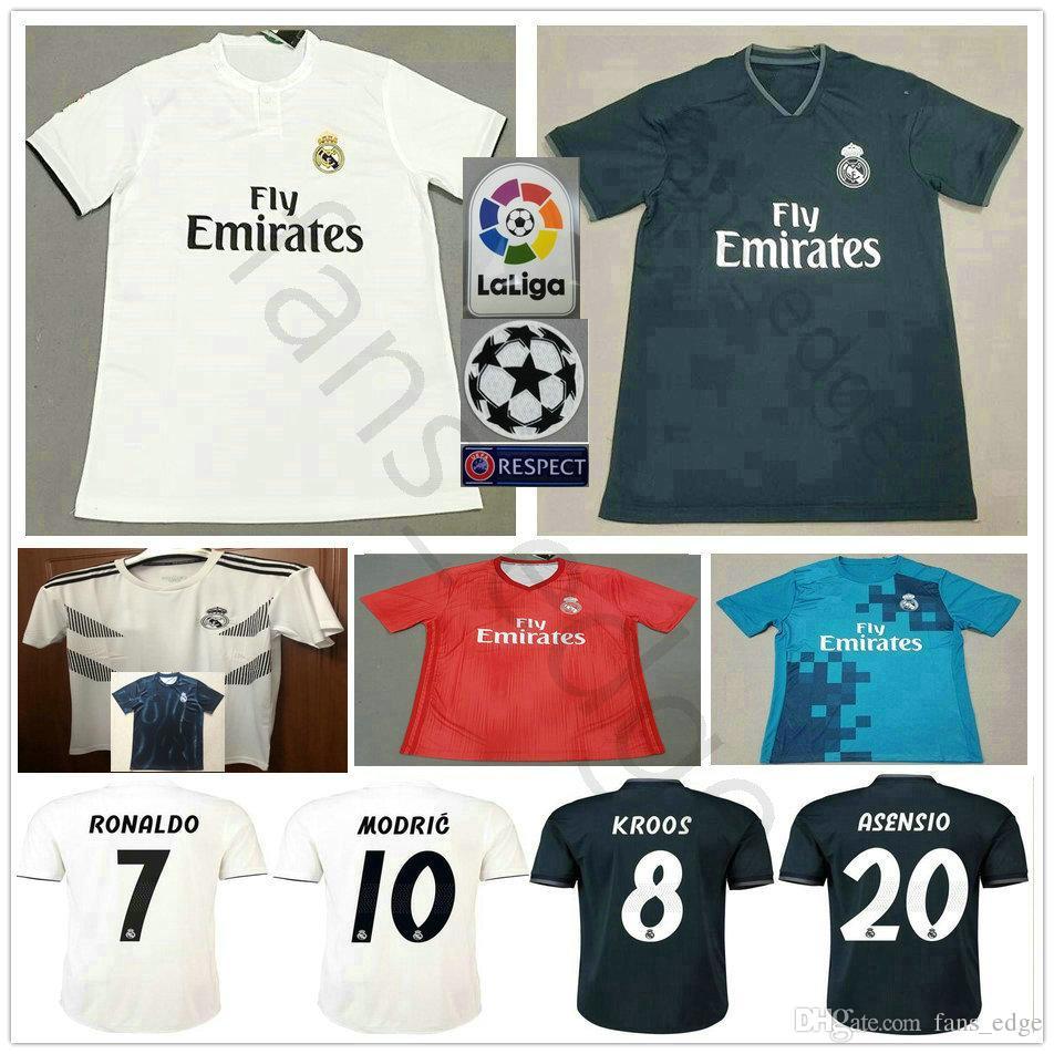 2018 2019 Camisetas De Fútbol Del Real Madrid MODRIC RONALDO BALE ISCO  ASENSIO KROOS RAMOS VARANE MARCELO Personalizado Camiseta De Fútbol De  Local Tercero ... 41d2aa707eb14
