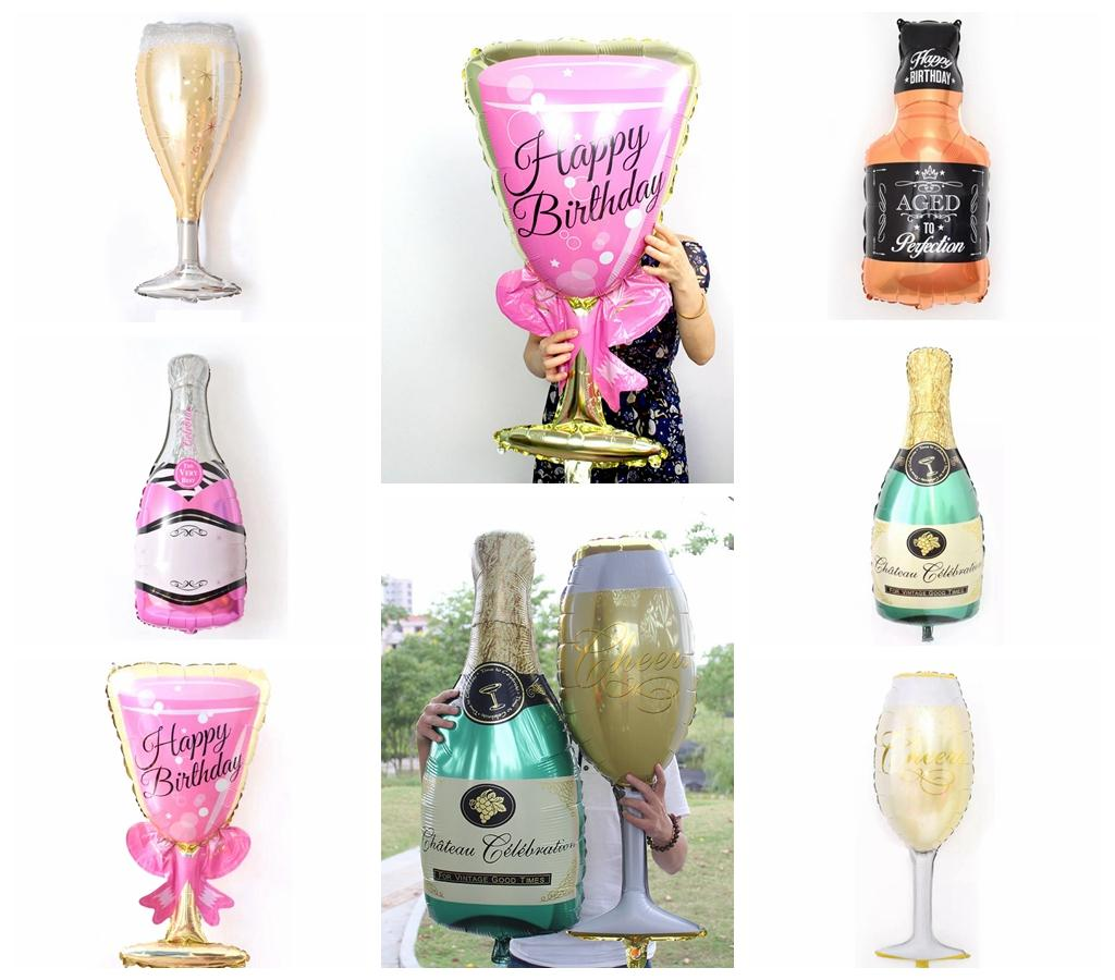 Champagne Glass Foil Balloons Whisky Bottle Helium Globos Wedding ...
