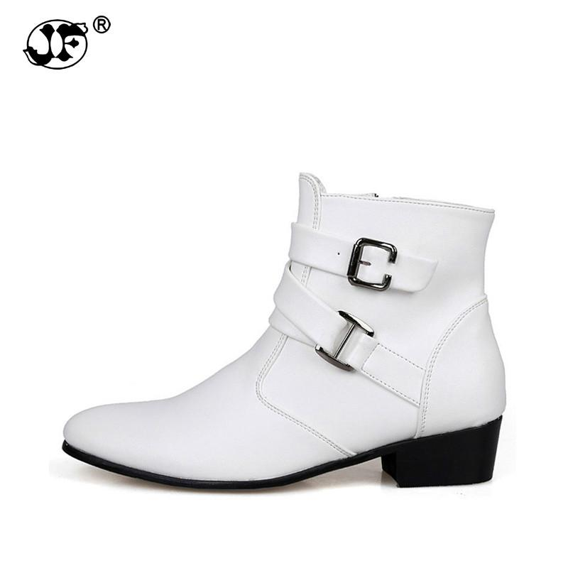 2d2edf65014d0 Men PU Leather Boots Double Buckle Male Ankle Boots Autumn Winter Shoes Men  Boots Fashion Men s Boots996 High Heels Heels From Tasehook