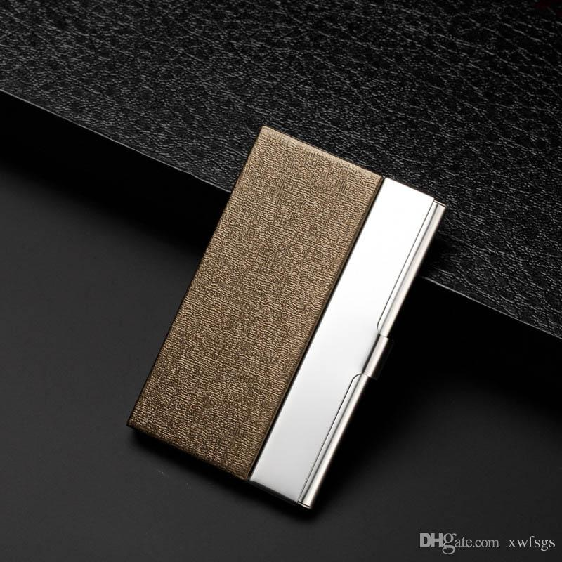 Acheter Creative Carte De Visite Boitier En Acier Inoxydable Aluminium Holder Metal Box Cover Credit Titulaire Wallet