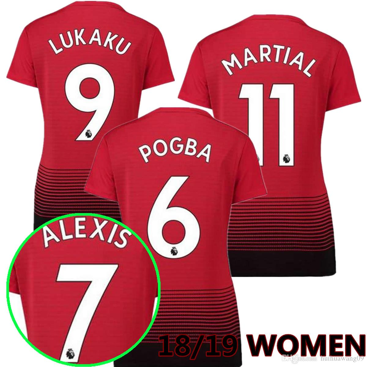 18 19 Women POGBA Red Devil Soccer Jersey 2018 19 LUKAKU 7 ALEXIS Shirt  Girl LINGARD RASHFORD MATA Ashley Young Football Shirt Sales Maillot De  Foot ... ba8497425