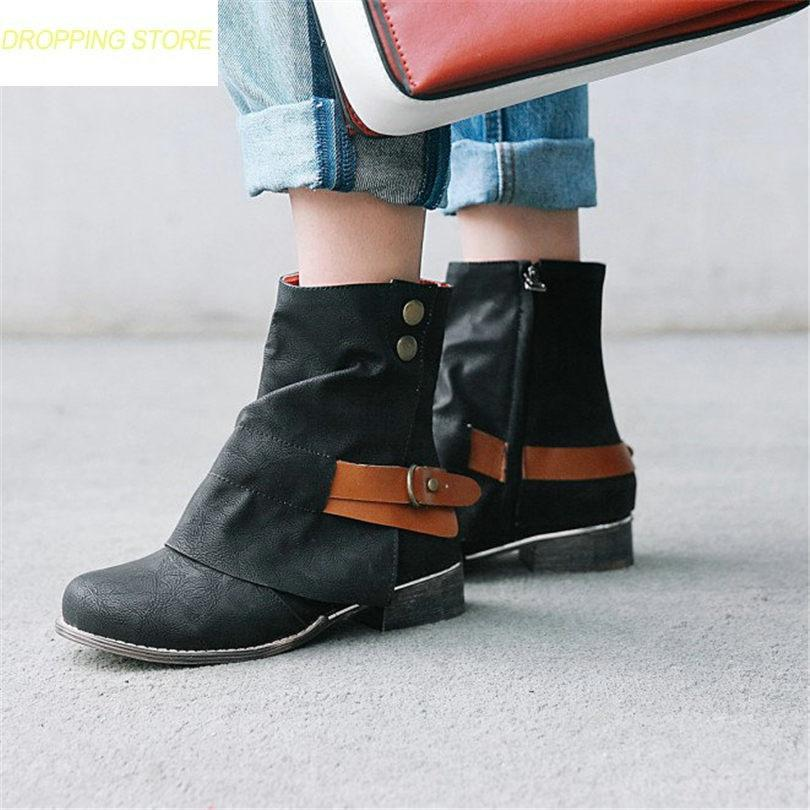 b5ae3480d41eb Women Low Heel Retro Riding Ankle Boots Winter Round Toe Hi Top Party  Rivets Pumps Warm Casual Shoes Plus Size Moon Boots Red Shoes From  Tasehook