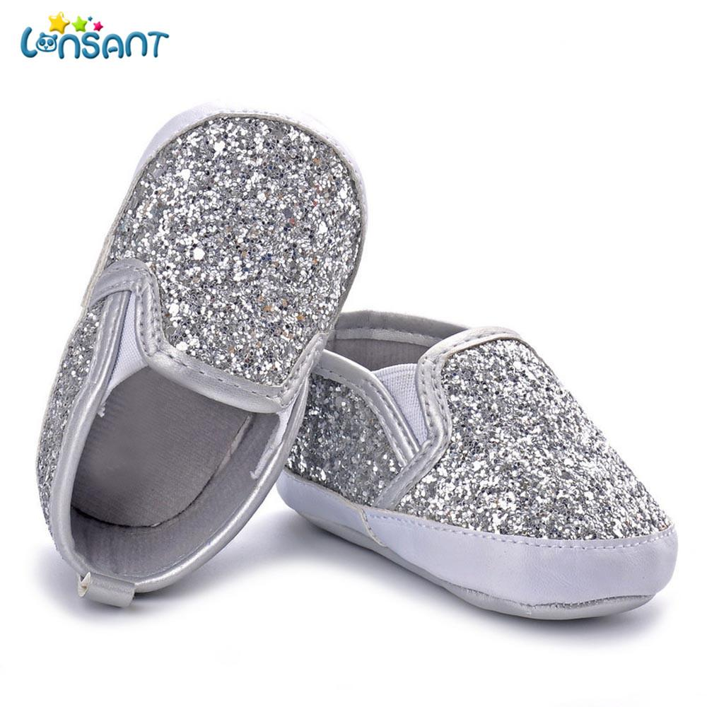 cd766e492749 2019 LONSANT Children S Bling Toddler Shoes Newborn Girls Boys Crib Shoes  Soft Sole Anti Slip Baby Sneakers Sequins First Walk From Begonior