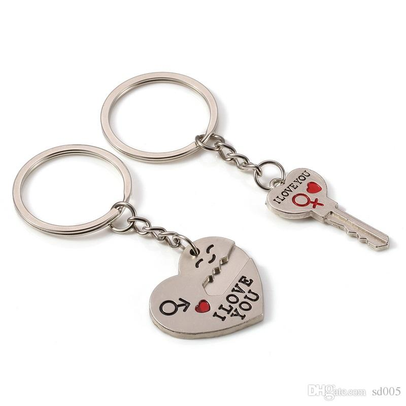 1pair English Letter Love Heart Shape Key Chain Lock Groove Metal Lover Couple Key Ring For Valentine Day Gift Charm 1 3dl Z