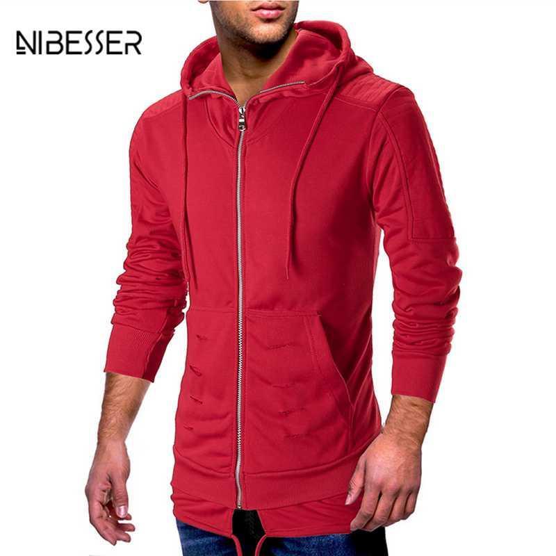 f20cc845 2019 NIBESSER Men'S Sweatershirt Slim Hip Hop Men'S Hooded Hole Corrugated  Sleeve Shoulder Stitching Sweatshirt Streetwear Sweatshirt From Honey333,  ...