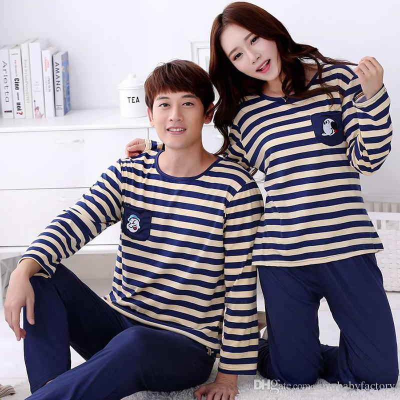 50840e9ddb 2017 Spring Autumn Long Sleeve Lovers Sleepwear Cartoon Lovers Home Clothing  Couples Matching Pajamas Adult Pyjamas Sexy Costumes Sexy Night Dresses  From ...