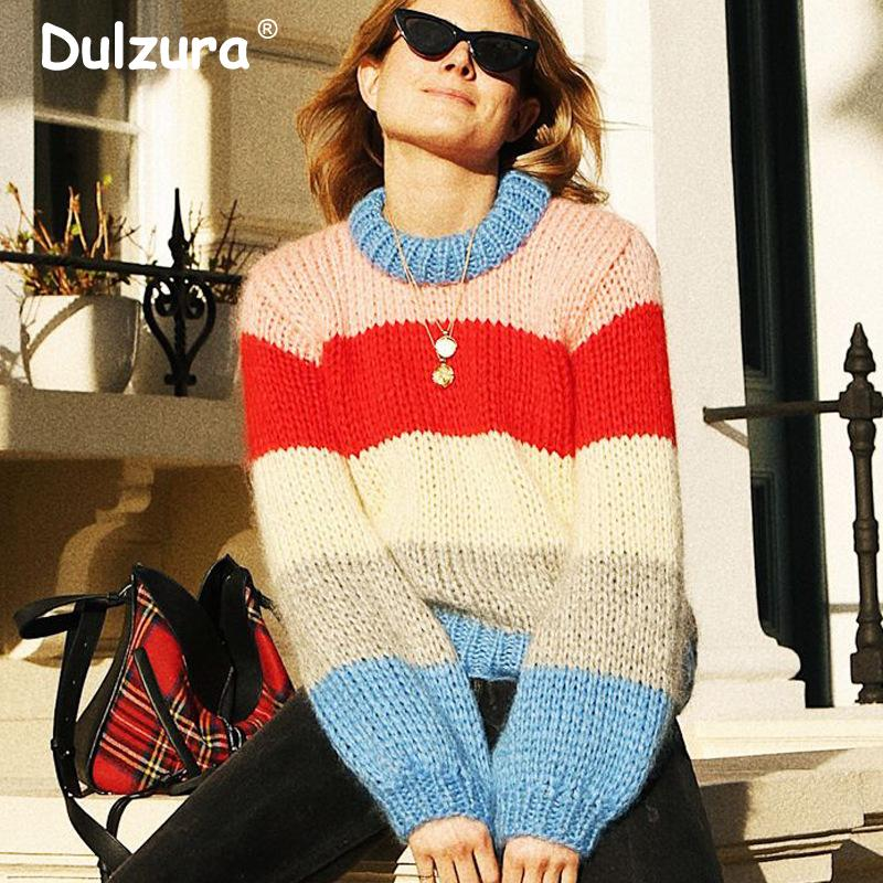 772307eeef 2019 Street Fashion Women Striped Sweaters Knitwear 2018 Winter Brand New O  Neck Pullovers Casual Loose Autumn Jumpers Pull Femme From Mujing