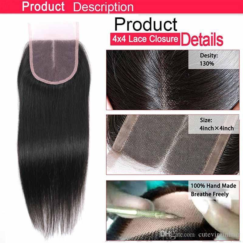 Pure Colored Hair Lace Closure Vendors Brasilianisches Menschenhaar 4x4 Lace Closure Farbe 27 30 33 99J Honigblond Mittelbraun Dunkelrot