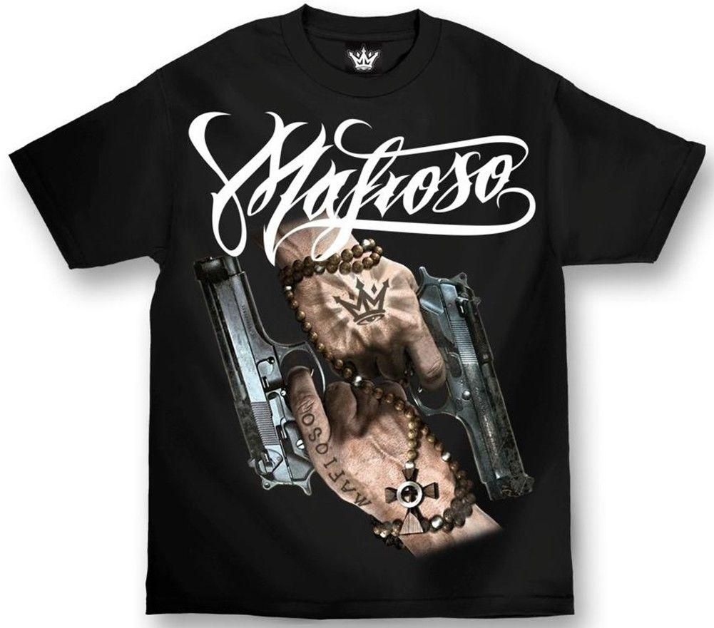 Mafioso Men S Saints T Shirt Black Gangsta Urban Wear Guns Monroe