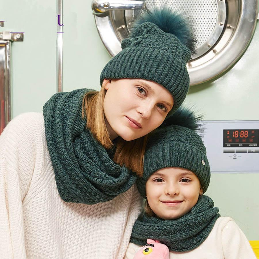 Compre Sombrero De Invierno Conjunto De Bufanda Para Niñas Pomelos De Piel  De Mapache Gorros De Mujer Moda Tejidos Esquí Gorras Anillo Conjunto Velvet  ... da0f0de35672