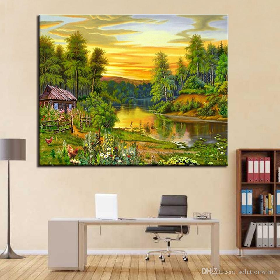 2018 Framework Diy Oil Painting By Numbers Drawing Forest Sunset ...