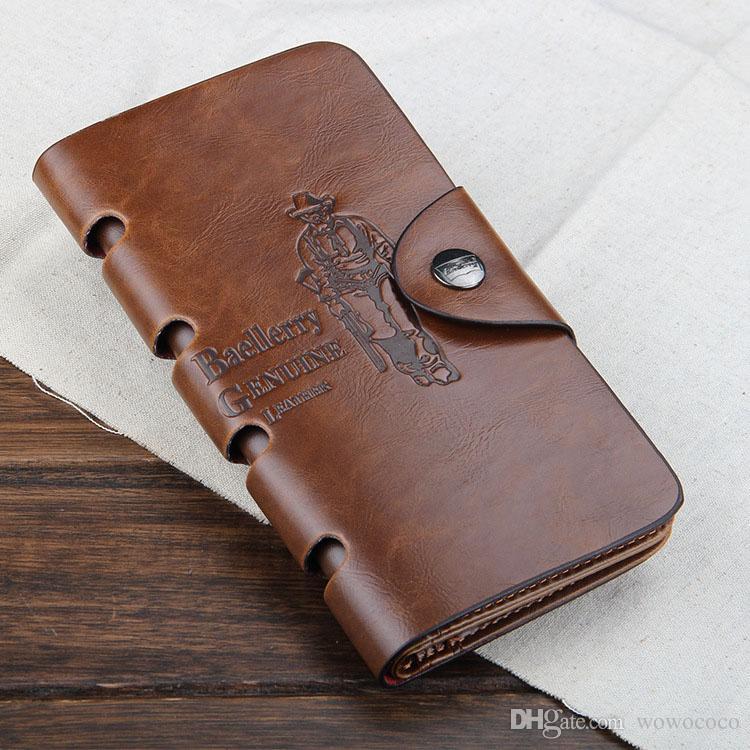 New Vintage PU Mens Longs Portefeuilles Fine Bifold 4 Styles PU Carte de Crédit en Cuir Cool tri fold Portefeuille pour hommes A084