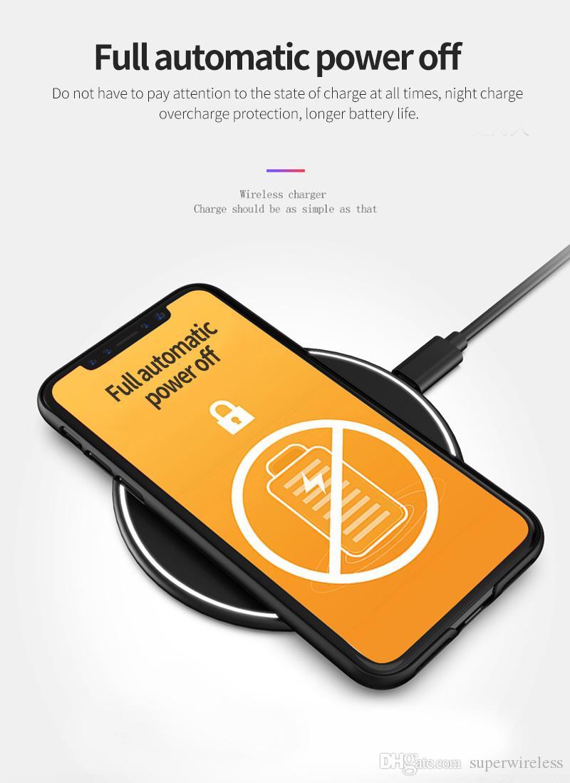 Respiración rápida inalámbrico cargador inalámbrico Qi cargador rápido de luz LED con cable para IP 8 X Samsung Galaxy S7 S8 Nota 5 7