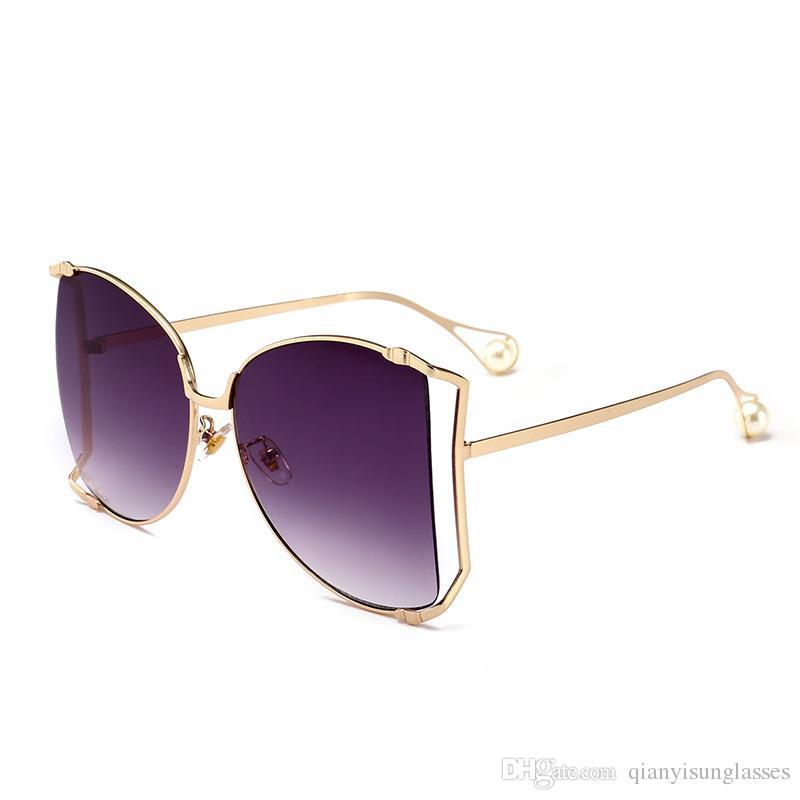 b18a4869e09 2018 New Luxury Women for Sunglasses Pearl Decoration Legs Fashion ...