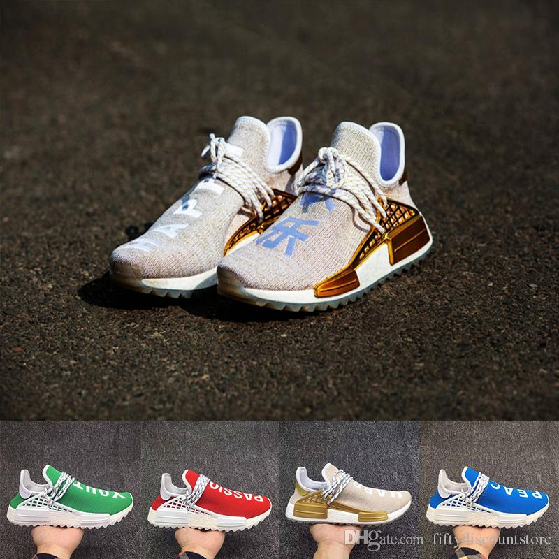 new concept 2f12c e7b7a New Color Human Race Mens Shoes Peace Passion Happy Youth And Heart Hu  Pharrell Williams Black Blue Green Red Womens Running Sneakers Best Running  Shoes ...