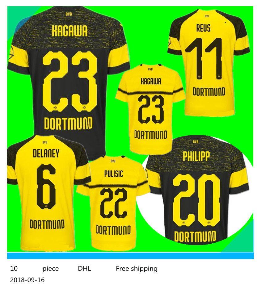 e04632e2c 2018 2019 Dortmund Home Away Black Soccer Jersey 18 19 Home ...