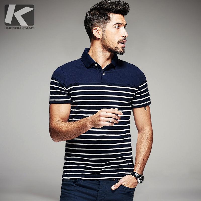 Acquista Kuegou Summer Mens 100% Cotone Polo Camicia A Righe Blu Nero  Abbigliamento Di Marca Man s Slim Manica Corta Vestiti Taglie Forti Top  7036 A  56.29 ... e4aabd5e93e