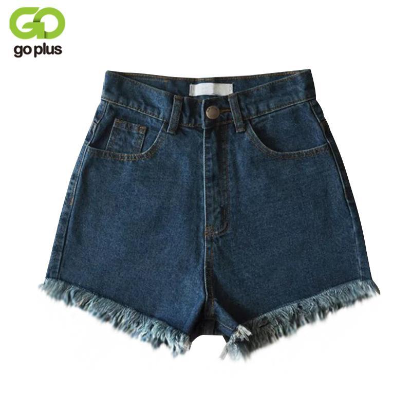 e072392eac2a0 GOPLUS Vintage Ripped Fringe Blue Denim Shorts High Waist Women Casual  Pocket Jeans Shorts 2017 Summer Girl Hot C4945 Shorts High Denim Shorts  Jeans Shorts ...