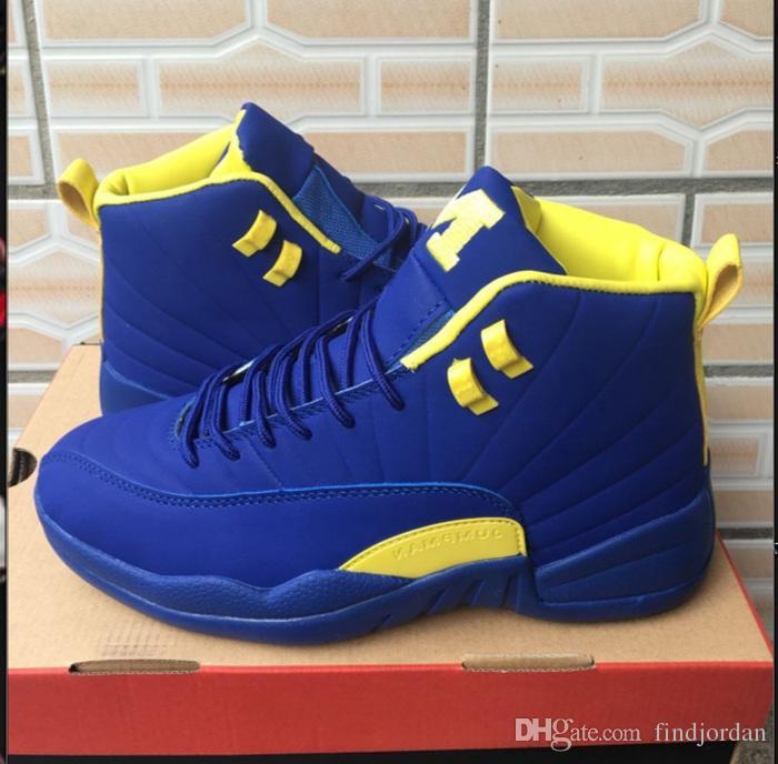 Hohe Qualität PSNY 12 PE Basketball Schuhe Männer 12 s Michigan Navy Blau Gelb Mais schuhe Günstige Online Mens Designer Schuhe
